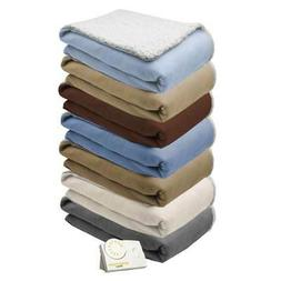 comfort knit natural sherpa electric heated blanket