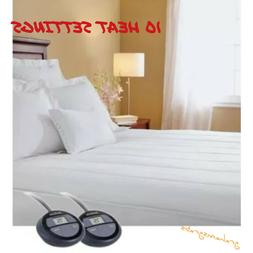 SUNBEAM ELECTRIC HEATED MATTRESS PAD QUILTED WARMING 10 HEAT
