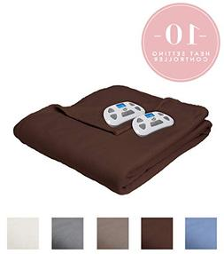 Serta | Brushed Fleece Heated Electric Throw Blanket,