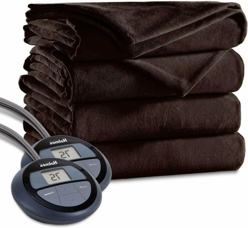 Holmes Luxury Velvet Plush Heated Blanket  (Queen, Wal