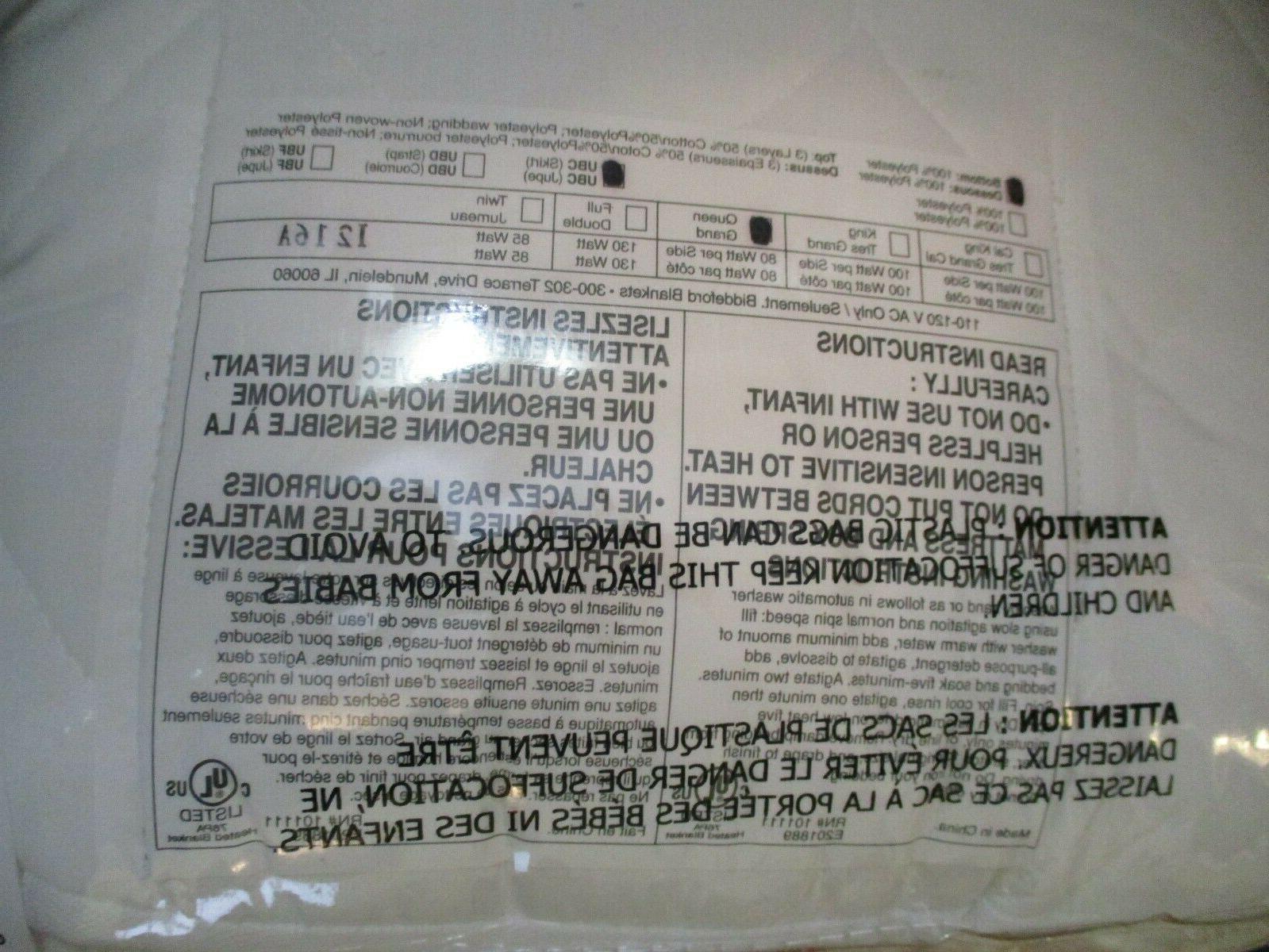 Biddeford White Heated Mattress Pad Control
