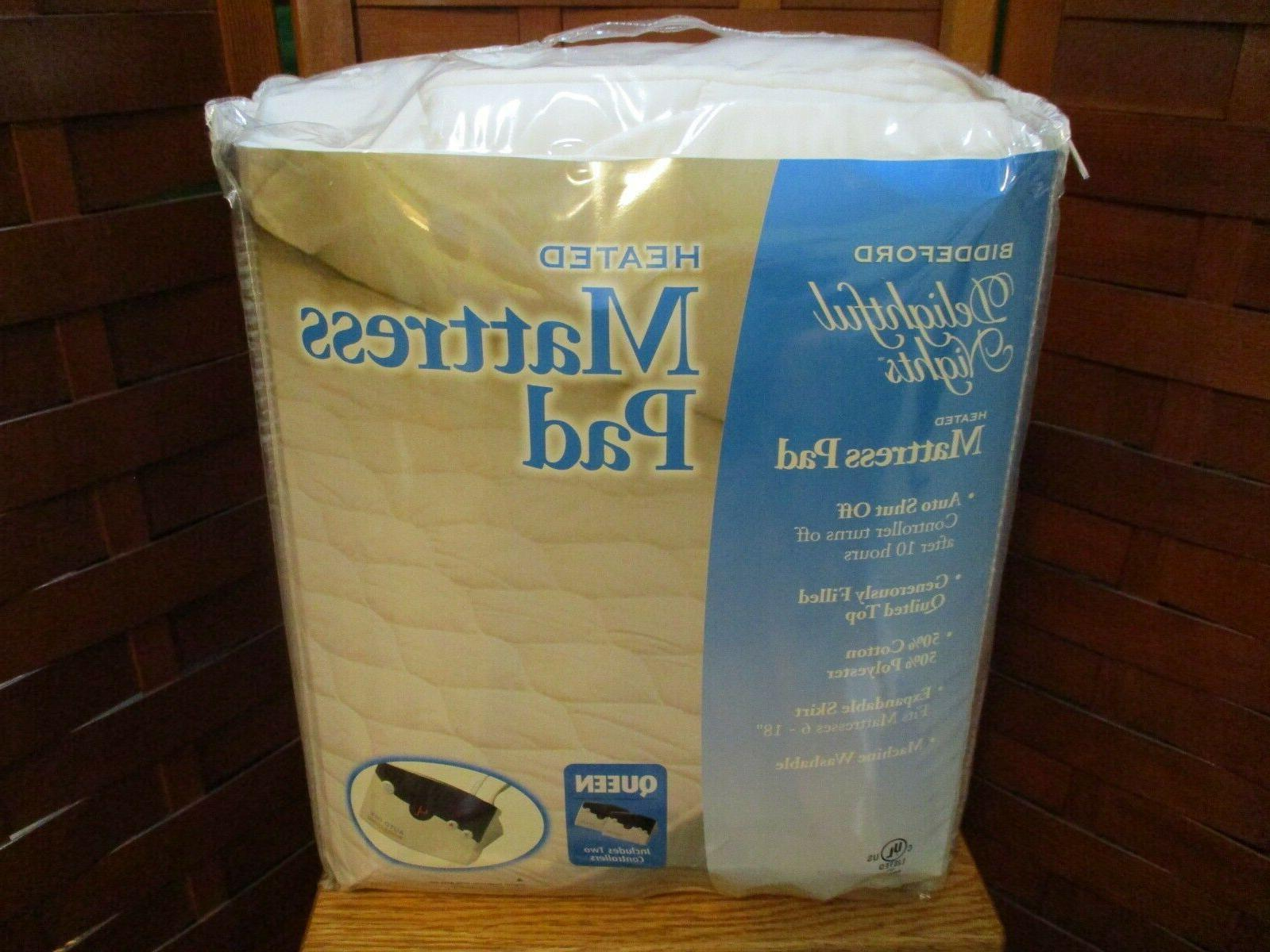 white quilted queen heated mattress pad dual
