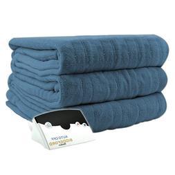 Pure Warmth MicroPlush Electric Heated Blanket Full Denim