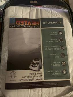 NEW Biddeford Quilted Heated Mattress Pad - White - Size: Tw