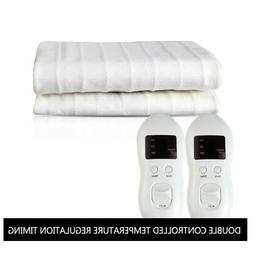 King Size Heated Mattress Pad White Warm Bed  100% Polyester