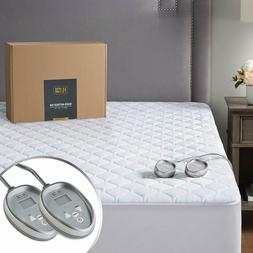 Hyde Lane Premium Cotton Heated Mattress Pad Dual Controls K