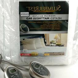 Sunbeam Slumber Rest Premium Quilted Heated Mattress Pad Que